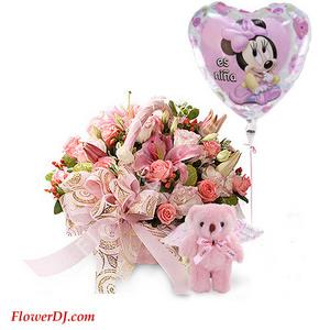 Ad082 Newborn Blessing Potted Flower Balloon Taiwan Florist